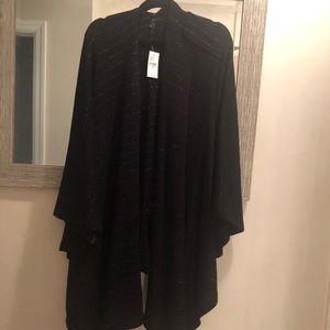 NWT LANE BRYANT silver & black sweater wrap OS